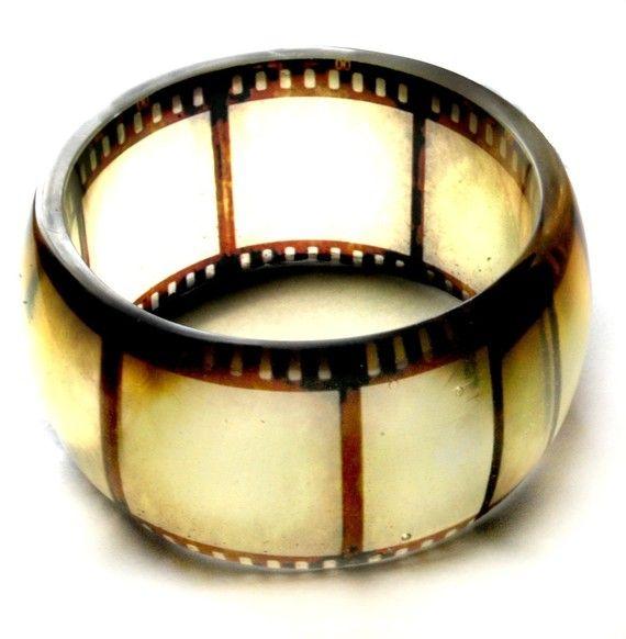 old film negative hand cast resin bangle, bracelet