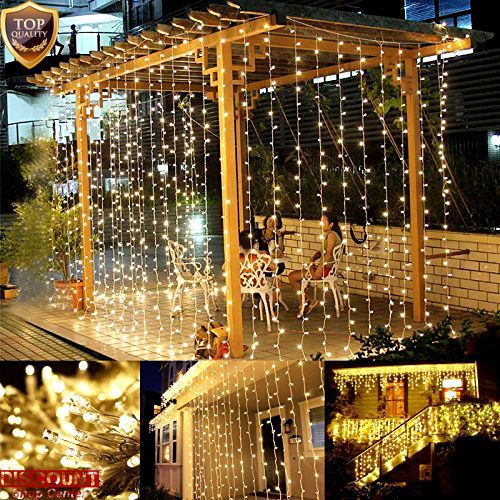 Christmas Curtain Window Icicle Lights 306 LED 8 Modes Decor Wedding Party Home #Twinkle #PartyWeddingChristmas