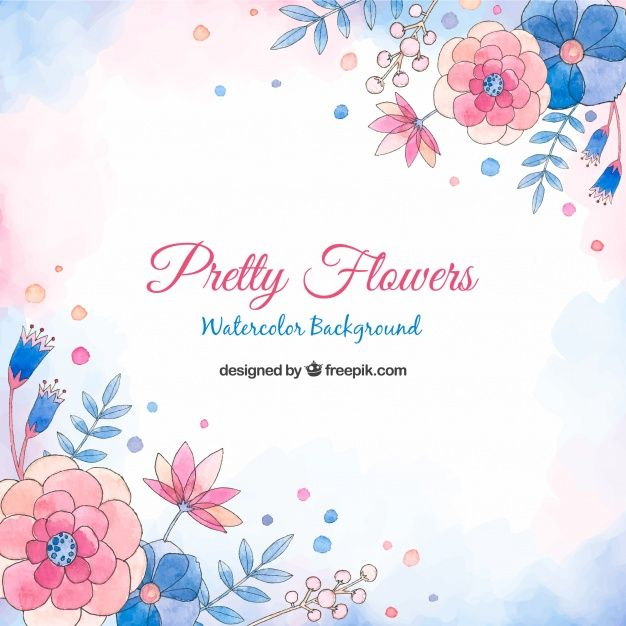 Pretty Flowers Background In Watercolor Style Free Vector