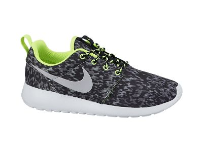 Nike Roshe Run Print Women's Shoe $80 Cool Grey/Volt/Black/Wolf Grey