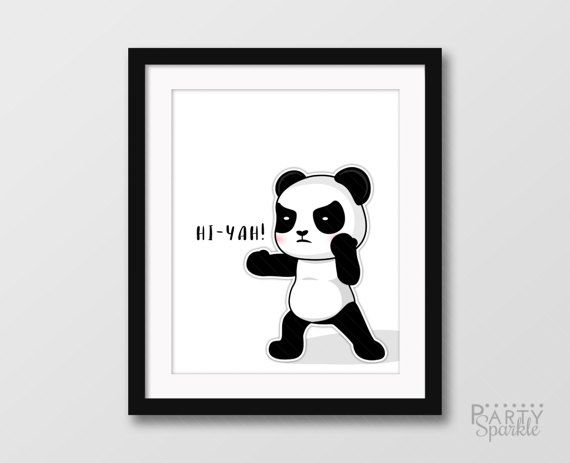 INSTANT DOWNLOAD 8x10 Hi-Yah! Ninja Panda Martial Arts Printable Wall Art Animals For Kids Baby Nursery Room Home Decor Digital jpeg File  More Panda Wall Art: https://www.etsy.com/shop/PartySparkle?ref=hdr_shop_menu&search_query=panda+wall+art  ★★★★★★★★★★★★★★★★★★★★★★★★★★  This listing is for the High Resolution 8x10 PRINTABLE .pdf File  Simply download and print from home or through a photo printing lab. YOU WILL RECEIVE: 8x10 .jpg file (sign as shown) *This...