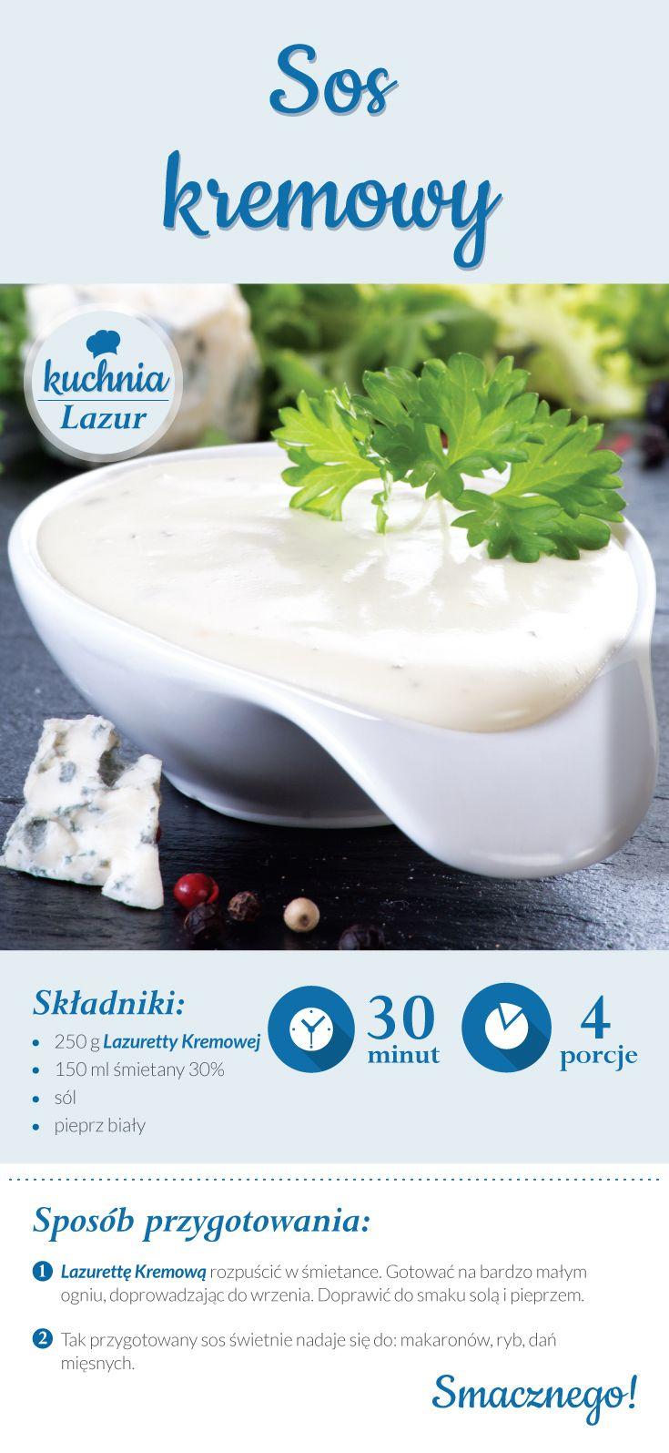 Sos kremowy /sos /Lazur /ser pleśniowy /rokpol /przepisy /kuchnia lazur