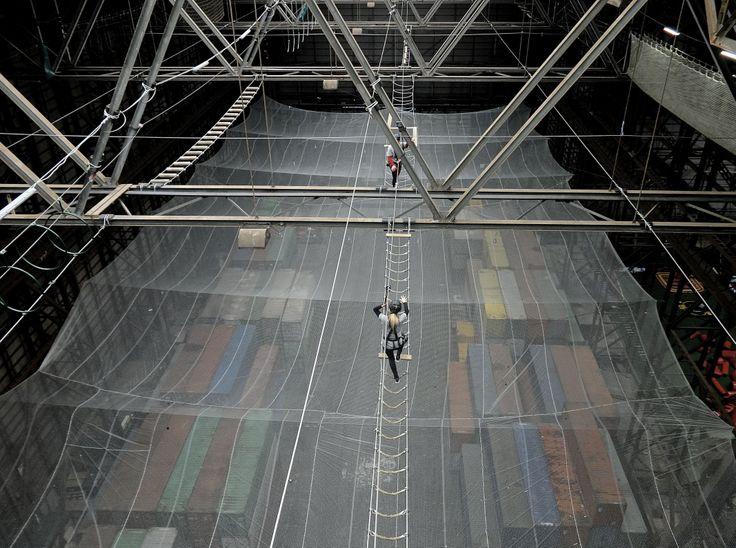 That is one big net.. @Urban Ranger Camp #Urbanhighroping #URC #Worldshighest #Extreme #Adrenaline #Copenhagen #Refshaleoen #highropes