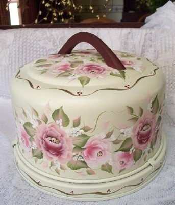 Beautiful cake tote.: Roses Cakes, Beauty Cakes, Cakes Carriers, Paintings Cakes, One Strokes Paintings, Cakes Totes, Vintage Roses, Paintings Roses, Decoration Paintings