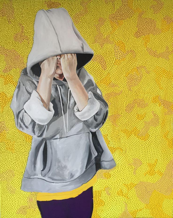 """Yellow mood"", 80x100cm, acryl on canvas by Lisbeth Sahl"