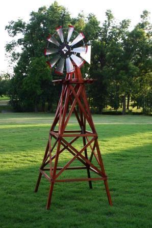 small windmills for yards | 10' Wood Backyard Windmill | Backyard Windmills