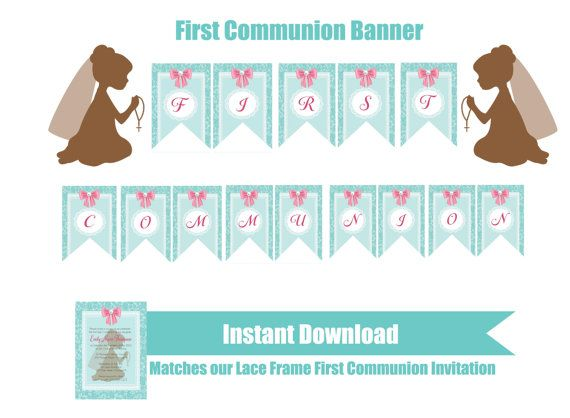 INSTANT DOWNLOAD  First Communion Banner  Green  by FabPartyPrints