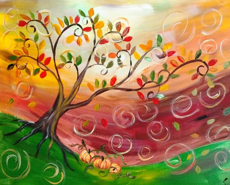 Fun fall painting. Leaves swirling in the wind. Great for a wine and painting event.