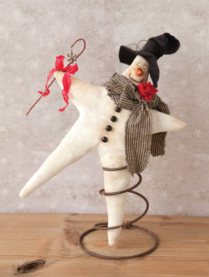 Twinkles the snowman was created after P.K.Gracia's  beloved Christmas tree topper broke and repurposes a rusty bedspring as a stand.