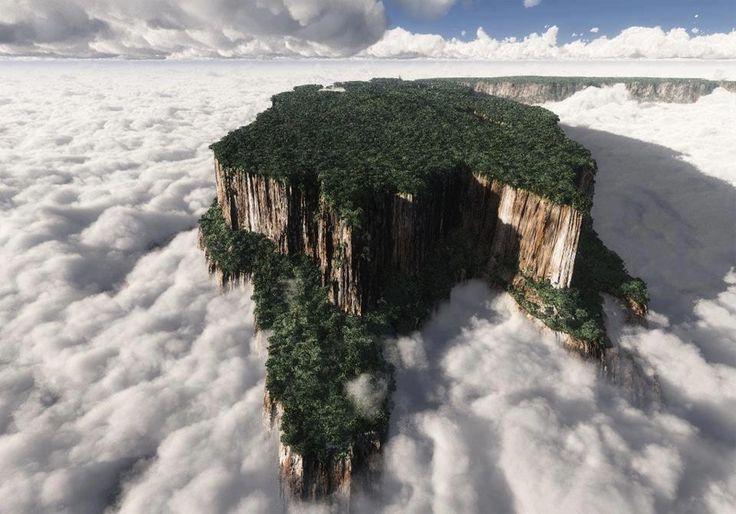 TEPUYS DE VENEZUELA: El Tepuy Kukenan que ilustra la fotografía, está en el Parque Nacional Canaima (Venezuela), próximo al Roraima.