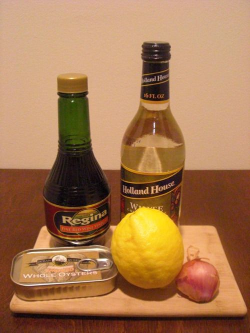 Vodka Red wine vinegar White wine vinegar Whole smoked oysters 1 shallot cracked black pepper Sea salt Tabasco For the martini: Combine 1 finely minced shallot with about 1 tbs each of the red wine...
