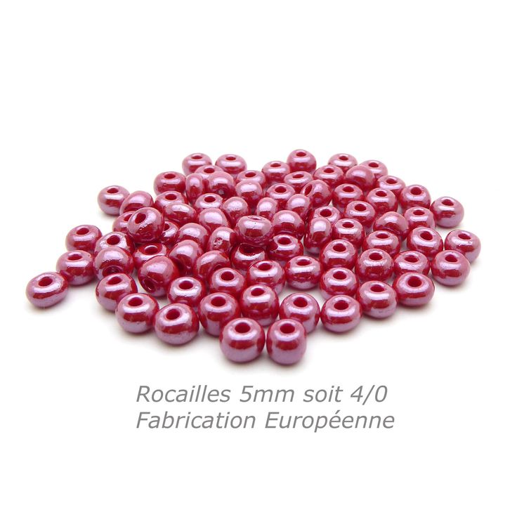 50 Rocailles 5mm rouge lustré soit environ 7g Rocailles 4/0 rouge : Perles de Rocaille par mf-apprets-et-perles