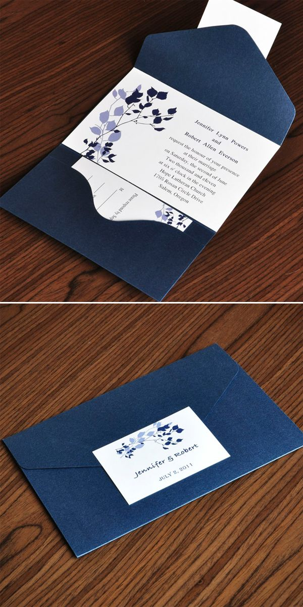Country Navy Blue Pocket Wedding Invitations for Rustic Wedding Ideas