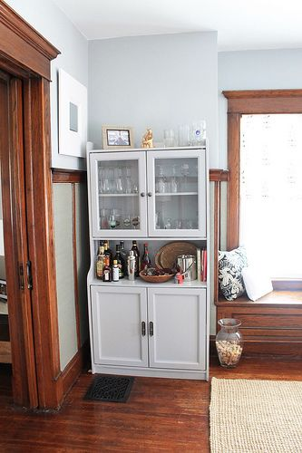 pale grey walls with wood trim