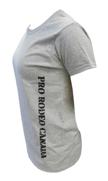 "Ladies CPRA Tee - Grey tee with black ""Pro Rodeo Canada"" text down the left side. 100% Pre-Shrunk Cotton"