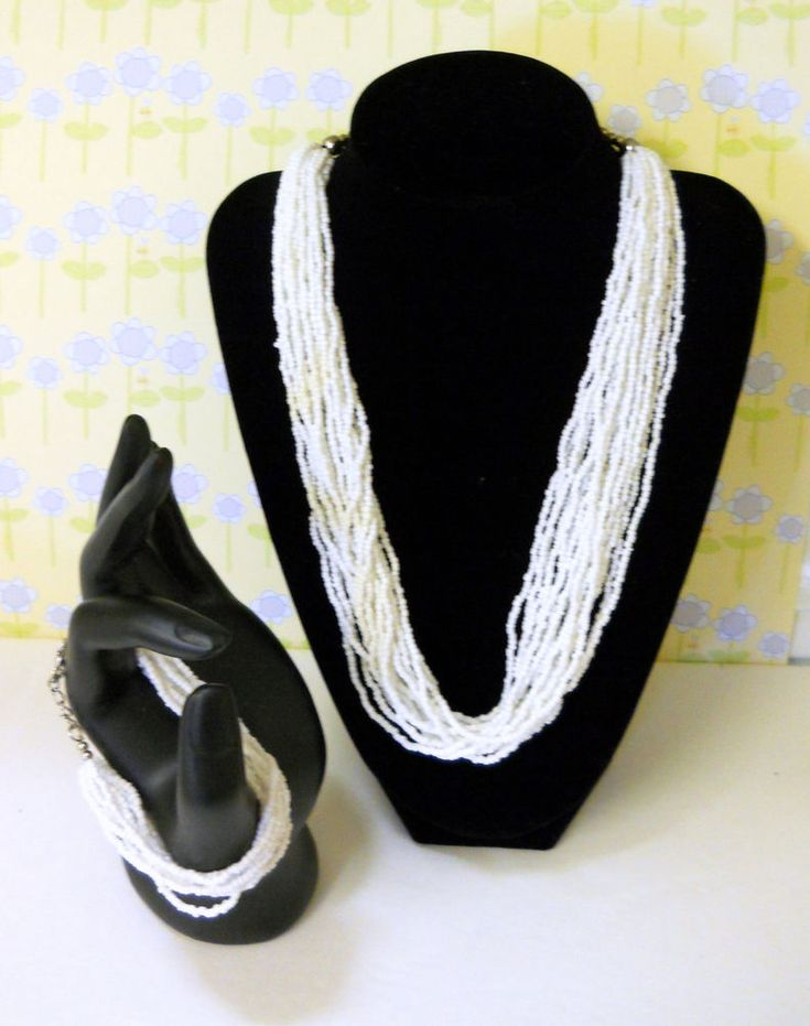 White Glass Seed Bead Vintage Bracelet and Necklace Set - Fine Fashion - Jewelry #Unbranded #bmecountdown