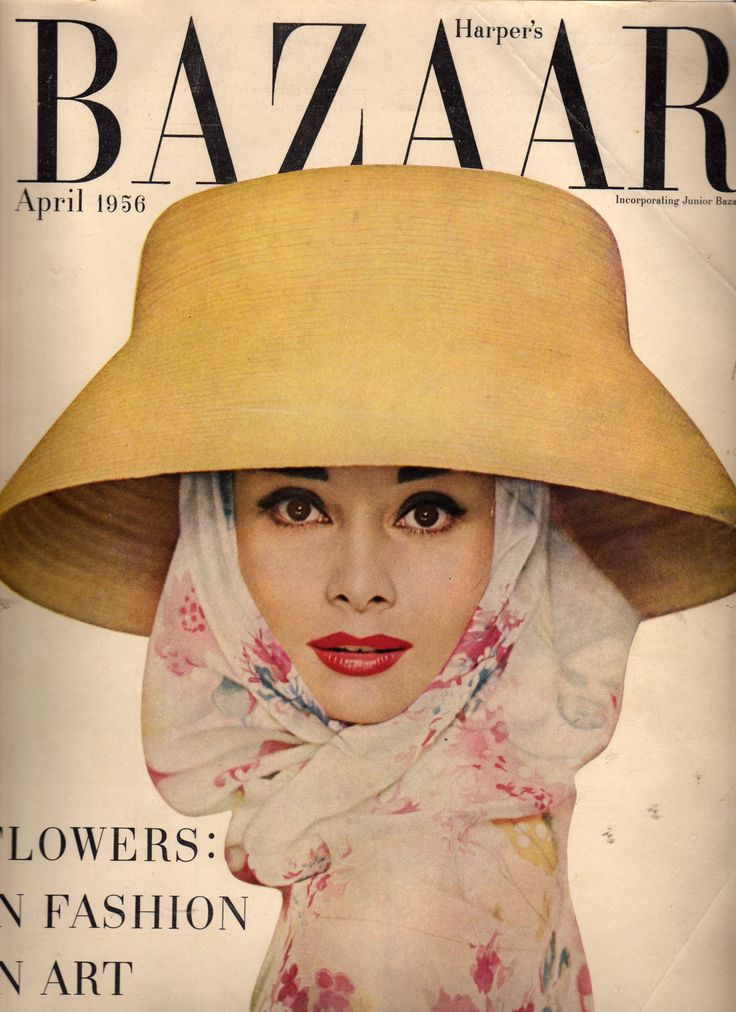 Old fashion mags are so gigantic that my scanner was unable to fit the whole magazine. Bazaar, April 1956, Audrey Hepburn cover.