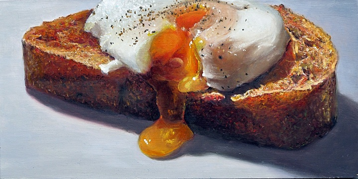Poached Egg on Toast-2011 7x14 oil on panel