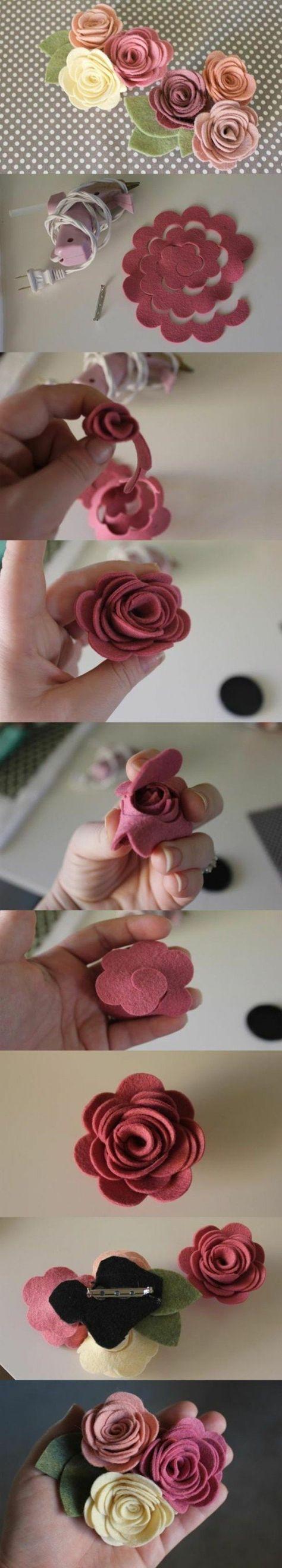 fleur de tissu, idée comment faire des fleurs en feutrine, petites roses à utiliser pour personnaliser une barrette