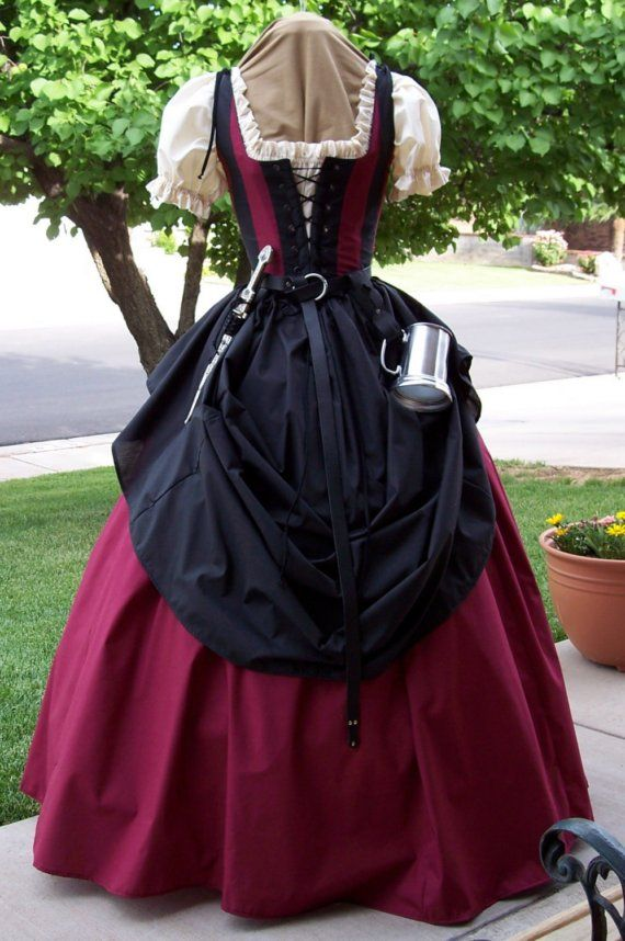 Renaissance Pirate Maiden Wench Gown Dress Costume via Etsy