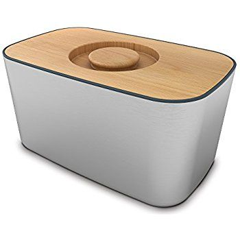 Joseph Joseph Steel Bread Bin with Bamboo Cutting Board Lid - Black: Amazon.co.uk: Kitchen & Home