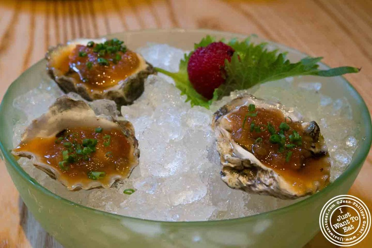 Oysters with Maui Onion Salsa at Nobu in Tribeca NYC, New York