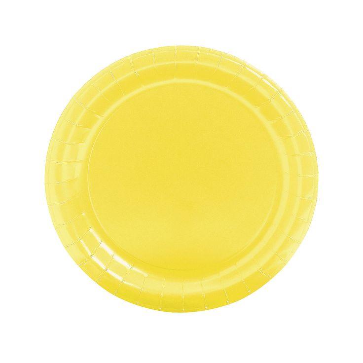 Round Mimosa Yellow Dinner Plates - OrientalTrading.com
