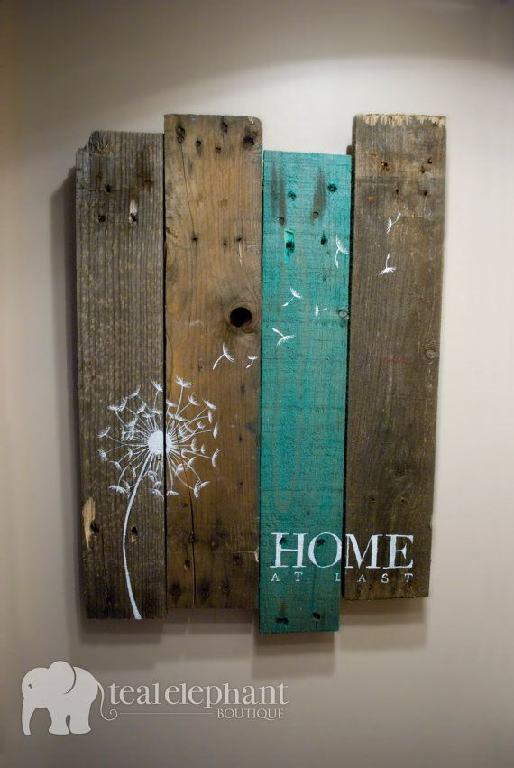 Pallet Art Dandelion Welcome Home Wall Hanging Rustic Shabby Chic on Etsy, $29.99 For the poser room art?