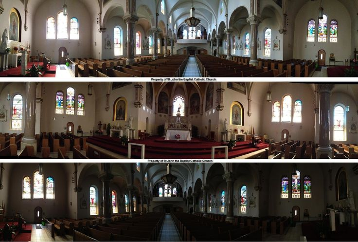 Interior panoramic views of St. John's Catholic Church, Beloit, KS. http://simplicityhumilitytrust.org