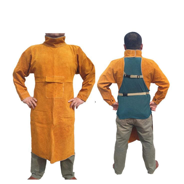Safety Welding Clothing Set Long Sleeve Cow Leather Apron Protective Soldering Coverall for Men and Welders GM1011