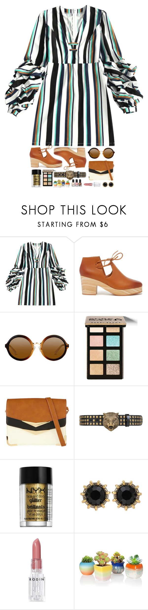 """Sin título #1175"" by melisafash ❤ liked on Polyvore featuring Kelsi Dagger Brooklyn, Bobbi Brown Cosmetics, ALDO, Gucci, NYX and Rodin"