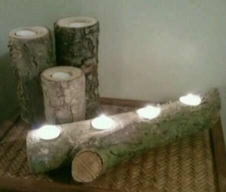diy wood tealight candle holder | log tealight candle holders | Craft Ideas