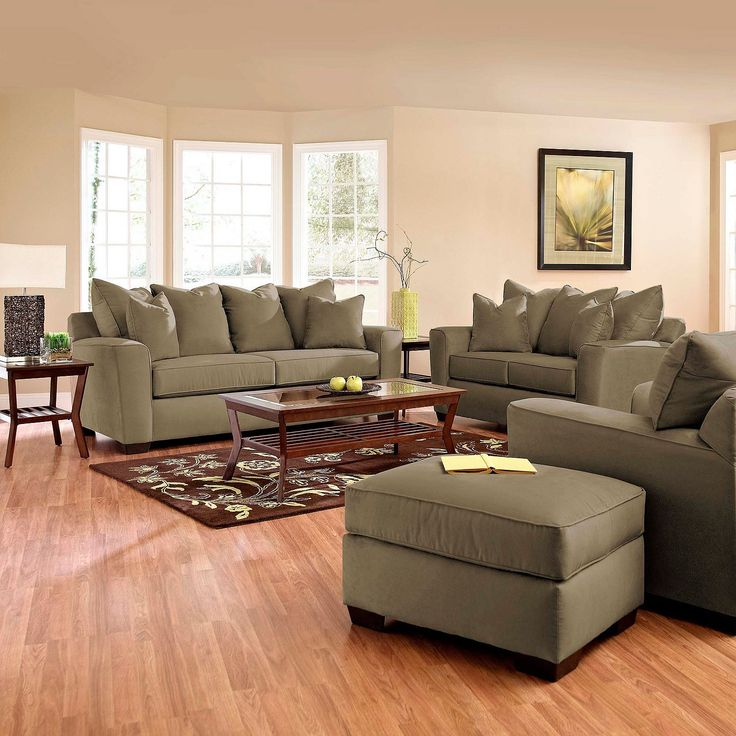 Upgrade your living room with this Angel Sofa Set, includes a sofa, loveseat, chair and ottoman.
