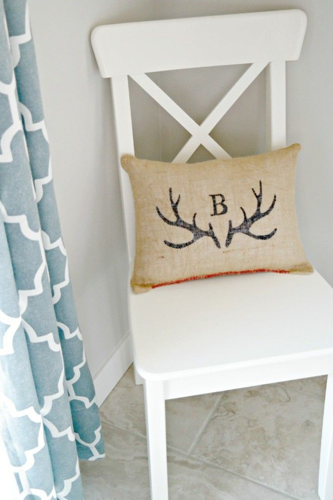 Antler Monogram Burlap Pillow