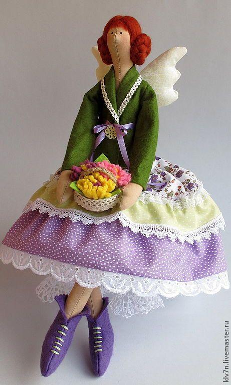 Купить Тильда ангел Цветочница - оливковый, тильда, тильда кукла, тильда ангел, цветы, цветочница