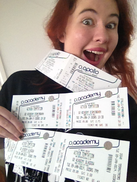 My tickets so far for #WTworldtour :D Birmingham 24/1/14 Manchester 27/1/14 Glasgow 28/1/14