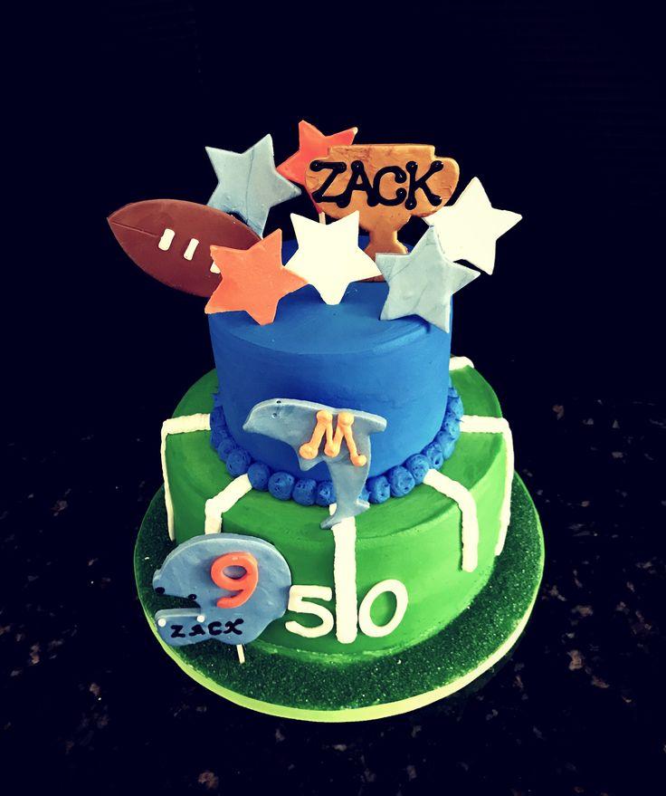 Miami Dolphins themed Happy Birthday Cake
