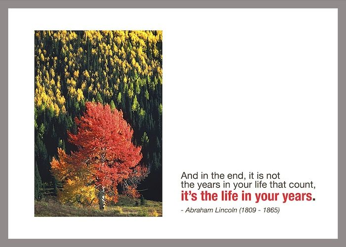 And in the end, it is not the years in your life that count, it's the life in your years.  - Abraham Lincoln (1809 - 1865)