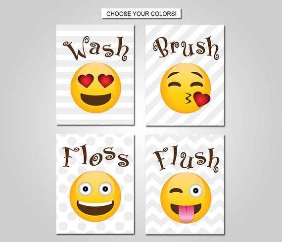 Emoji Kids Bathroom Wall Art Emoji Bathroom Wall Decor Prints
