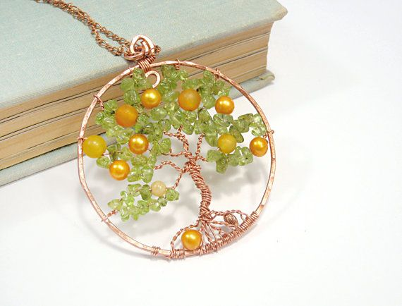 Tree Of Life Pendant Necklace Copper Wire Wrapped Rear by FestiJe