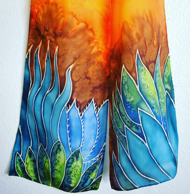 8x54 agave plant design. Habotai silk scarf hand-painted by Raebirdcreations.com. Find more silk scarves for purchase at raebirdcreations.com