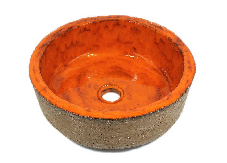 Stylowa pomarańczowa umywalka ręcznie formowana