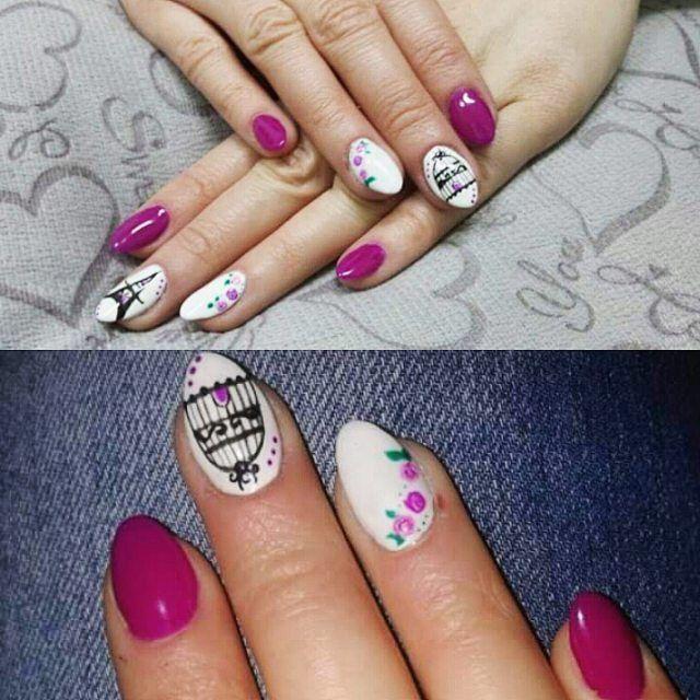 D&P #nailsofinstagram#nailart#nails#hybridnails#praktyki#ręczniemalowane#eiffletower#semilac#allepaznokcie by deckowa