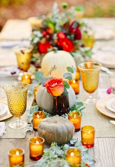 NOAH'S Event Venue | Photo from: Wedding Chicks - The pumpkins add the perfect fall touch to this adorable tablescape.