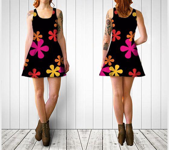 "Flare dress ""Neon Retro Flowers Flare Dress"" by Cori-Beth's Originals at Art of Where."