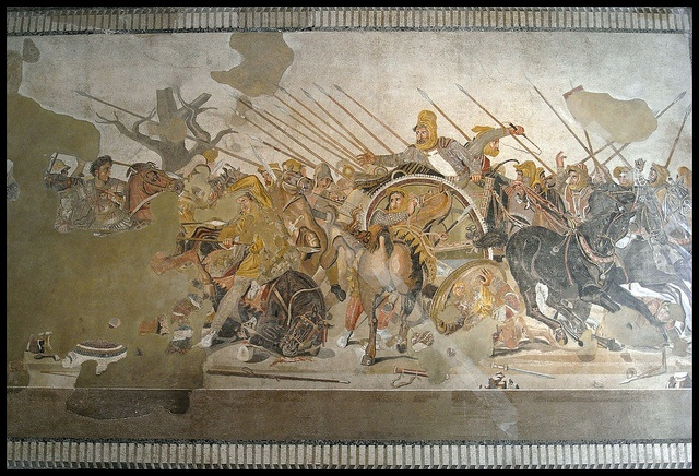 Alexander the Great fighting at the battle of Issus against Darius III of Persia