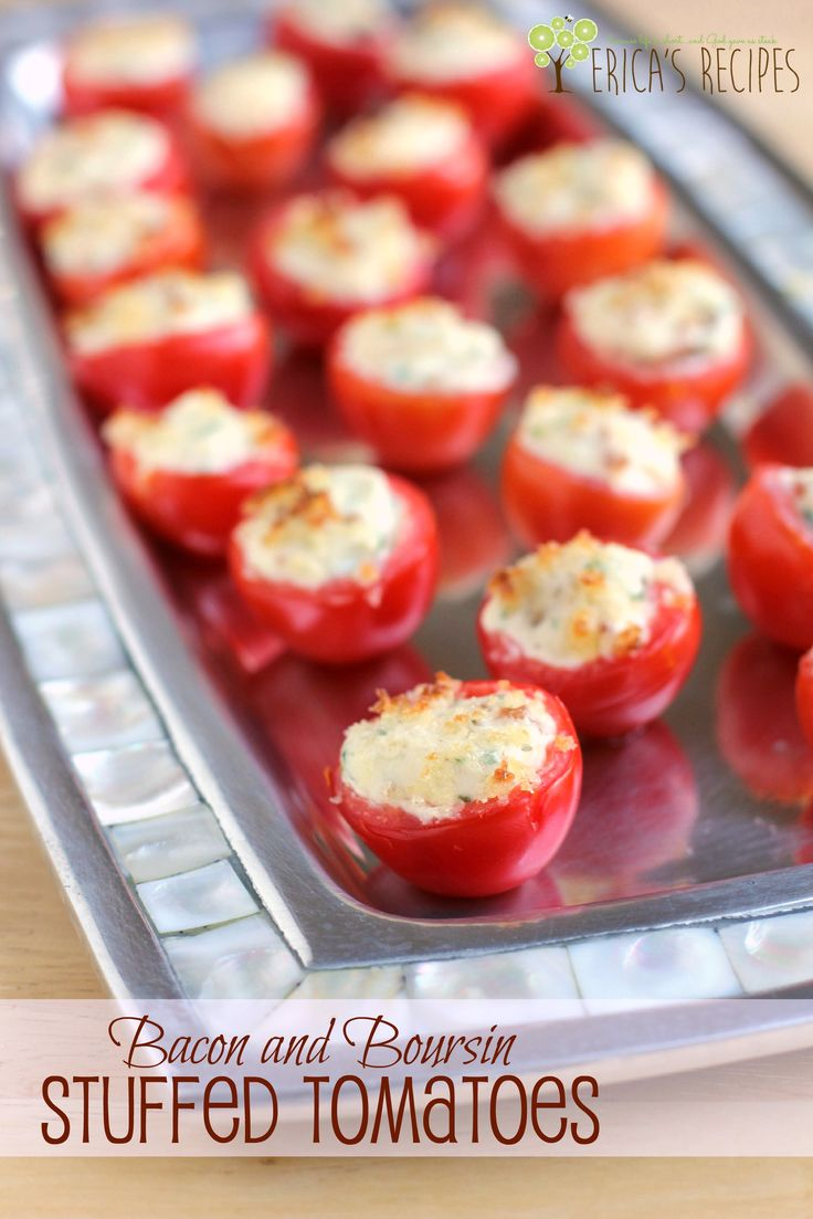 Bacon and Boursin Stuffed Tomatoes! Pretty party bites perfect for the holidays! From EricasRecipes.com