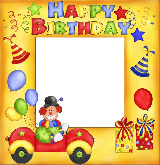 Free Transparent PNG files and Paint Shop Pro Tubes: Happy Birthday Clown Frame