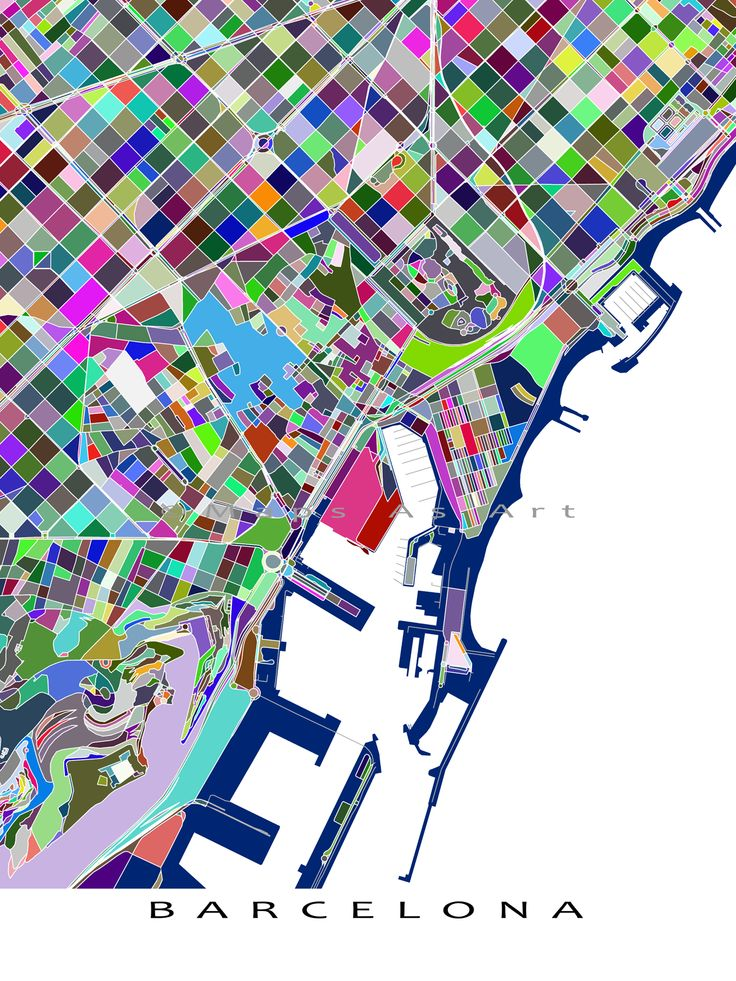 This Barcelona city map has a fun, colorful abstract art design made from of lots of little multicolored shapes. Each shape is actually a city block or a piece of land - and these shapes combine like a puzzle or mosaic to form this #Barcelona map. #BarcelonaMap #BarcelonaArt