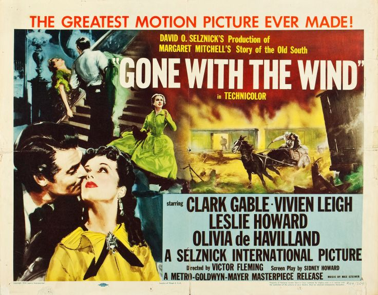 Gone With the Wind (MGM, R-1954). Half Sheet